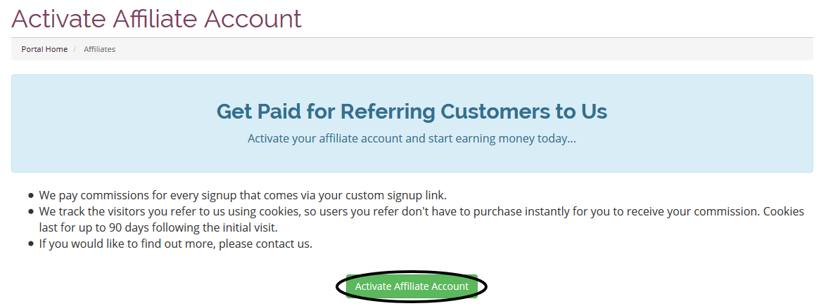 Activate your affiliate account