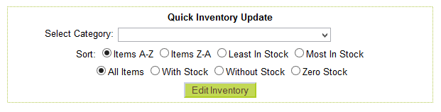 Editing product inventory