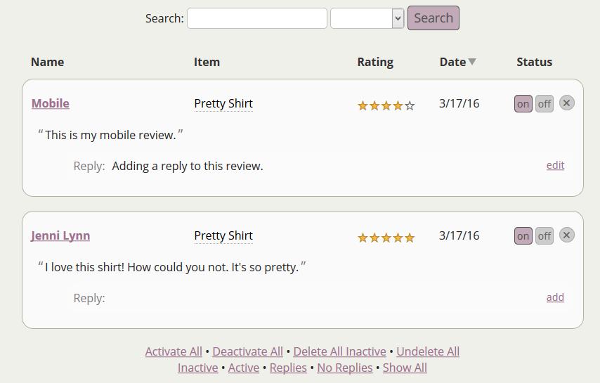 Reviews Admin Area