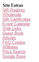 Site extras