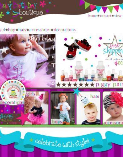 Baby Birthday Custom Boutique Website Design